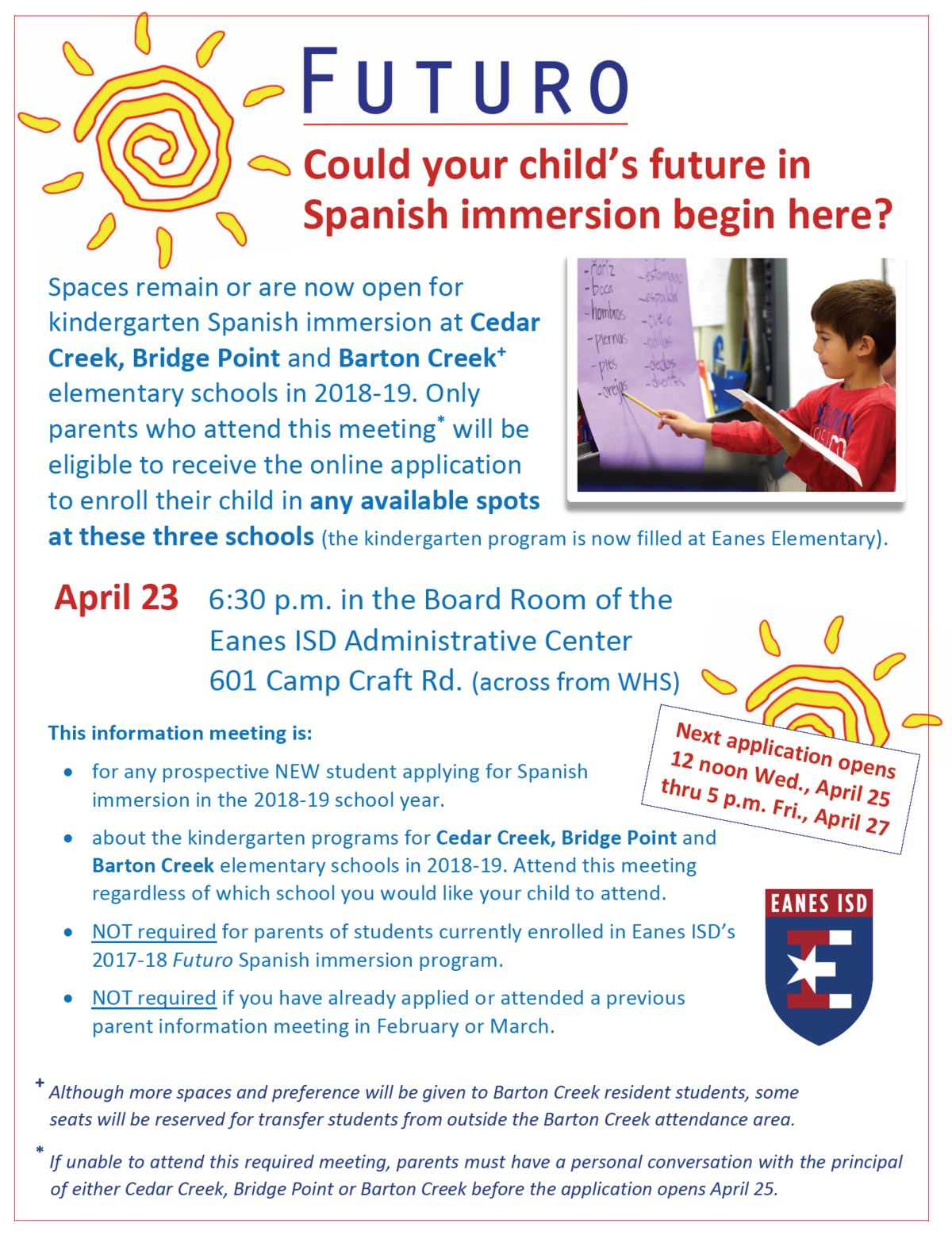 Spanish Immersion Mandatory Meeting - Incoming Kindergarten